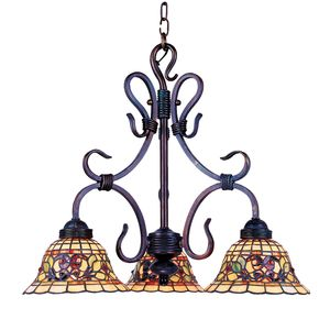 Tiffany Buckingham 3-Light Chandelier In Vintage Antique With Tiffany Style Glass by Elk Lighting