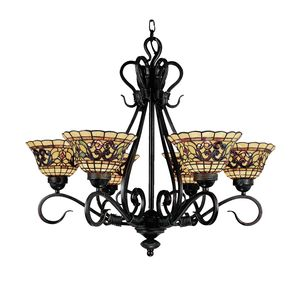 Tiffany Buckingham 6-Light Chandelier In Vintage Antique With Tiffany Style Glass by Elk Lighting