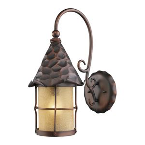 Rustica 1-Light Outdoor Sconce In Antique Copper With Amber Scavo Glass by Elk Lighting