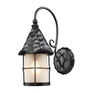 Rustica 1-Light Outdoor Sconce In Matte Black With Scavo Glass by Elk Lighting