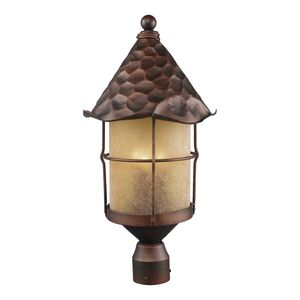 Rustica 3-Light Outdoor Post Light In Antique Copper With Amber Scavo Glass by Elk Lighting