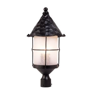 Rustica 3-Light Outdoor Post Light In Matte Black With Scavo Glass by Elk Lighting