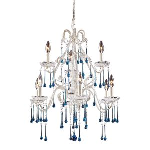 9 Light Chandelier In Antique White And Aqua Crystal by Elk Lighting