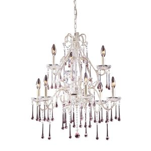 9 Light Chandelier In Antique White And Rose Crystal by Elk Lighting