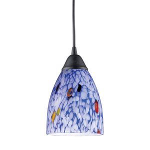 1 Light Pendant In Dark Rust And Starlight Blue Glass by Elk Lighting