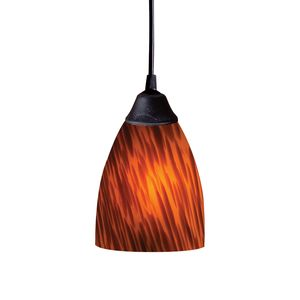 1 Light Pendant In Dark Rust And Espresso Glass by Elk Lighting