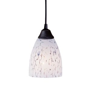 1 Light Pendant In Dark Rust And Show White Glass by Elk Lighting