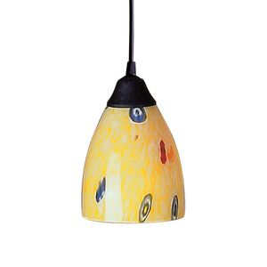 1 Light Pendant In Dark Rust And Yellow Blaze Glass by Elk Lighting
