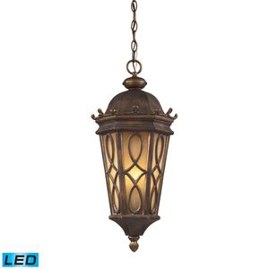 3 Light Outdoor Pendant In Hazlenut Bronze And  Amber Scavo Glass by Elk Lighting