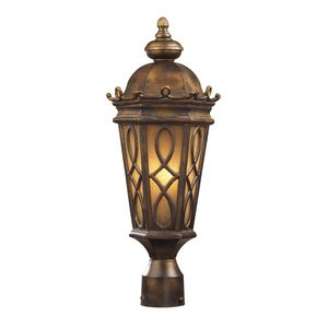 2 Light Post Light In Hazlenut Bronze And  Amber Scavo Glass by Elk Lighting