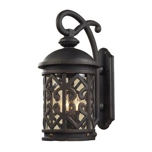 2 Light Outdoor Sconce In Weathered Charcoal And Clear Seeded Glass by Elk Lighting