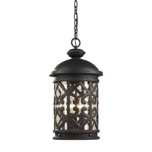 3 Light Outdoor Pendant  In Weathered Charcoal And Clear Seeded Glass by Elk Lighting