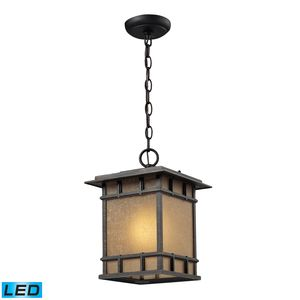 Newlton 1 Light Outdoor Pendant In Weathered Charcoal by Elk Lighting