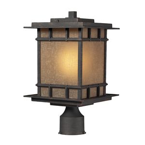Newlton 1 Light Post Mount In Weathered Charcoal by Elk Lighting