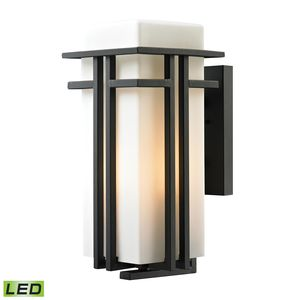 Croftwell Collection 1 Light Outdoor Sconce In Textured Matte Black by Elk Lighting