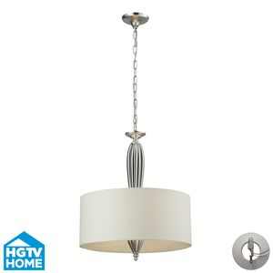 Martique 4 Light Pendant In Chrome And Silver Leaf  by Elk Lighting