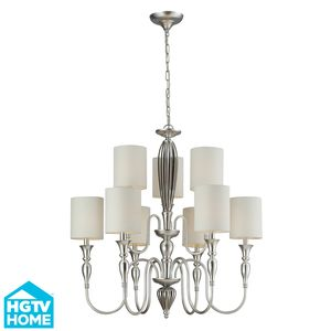 Martique 6+3 Light Chandelier In Chrome And Silver Leaf by Elk Lighting