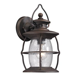 Village Lantern Collection 1 Light Outdoor Sconce In Weathered Charcoal by Elk Lighting