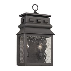 Forged Lancaster Collection 2 Light Outdoor Sconce In Charcoal by Elk Lighting