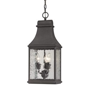 Forged Jefferson Collection 3 Light Outdoor Pendant In Charcoal by Elk Lighting