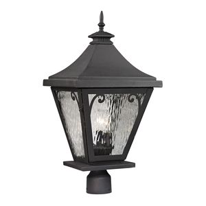 Forged Camden Collection 3 Light Outdoor Post Light In Charcoal by Elk Lighting