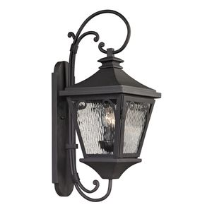 Forged Manor Collection 2 Light Outdoor Sconce In Charcoal by Elk Lighting