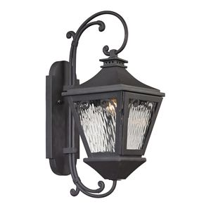 Forged Manor Collection 1 Light Outdoor Sconce In Charcoal by Elk Lighting