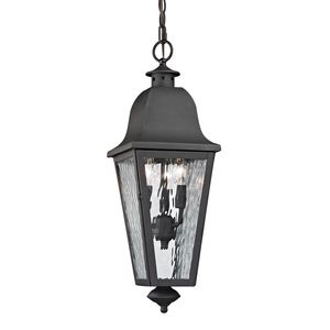 Forged Brookridge Collection 3 Light Outdoor Pendant In Charcoal by Elk Lighting