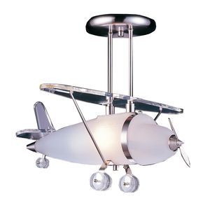 1 Light Biplane Shape Pendant In Satin Nickel by Elk Lighting