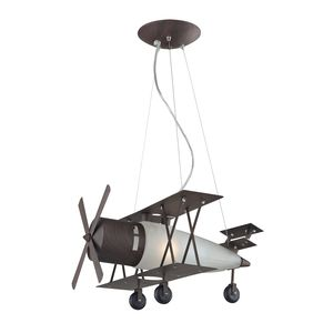 1 Light Biplane Fighter Pendant In Satin Nickel by Elk Lighting