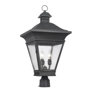 Outdoor Post Lantern Reynolds Collection In Solid Brass In A Charcoal Finish by Elk Lighting