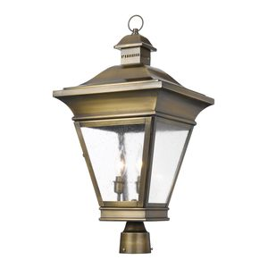 Outdoor Post Lantern Reynolds Collection In Solid Brass In A Oiled Rubbed Brass Finish by Elk Lighting