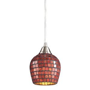 1 Light Pendant In Satin Nickel And Copper Mosaic Glass by Elk Lighting