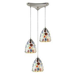 3 Light Genstone Pendant With Satin Nickel Hardware by Elk Lighting