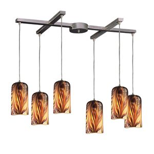 6 Light Pendant In Satin Nickel And Molten Sunset Glass by Elk Lighting