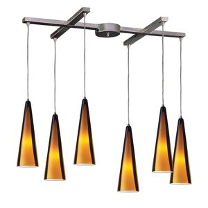 6 Light Pendant In Satin Nickel And Sahara Glass by Elk Lighting