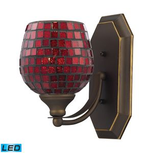 1 Light Vanity In Aged Bronze And Copper Mosaic Glass by Elk Lighting
