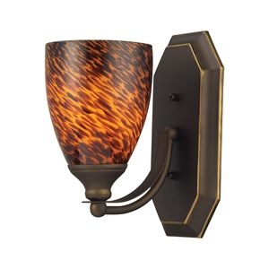 1 Light Vanity In Aged Bronze And Espresso Glass by Elk Lighting
