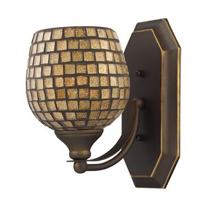1 Light Vanity In Aged Bronze And Gold Mosaic Glass by Elk Lighting