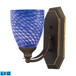 1 Light Vanity In Aged Bronze And Sapphire Glass by Elk Lighting
