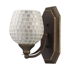 1 Light Vanity In Aged Bronze And Silver Mosaic Glass by Elk Lighting