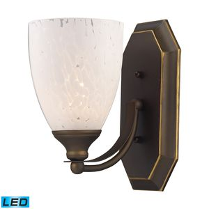 1 Light Vanity In Aged Bronze And Snow White Glass by Elk Lighting