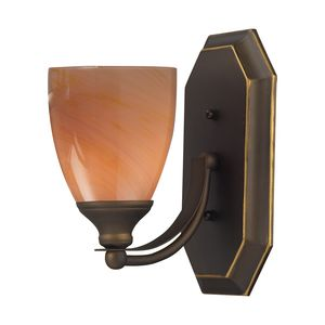 1 Light Vanity In Aged Bronze And Sandy Glass by Elk Lighting