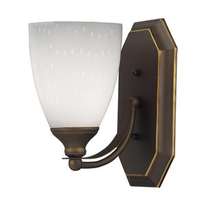 1 Light Vanity In Aged Bronze And Simply White Glass by Elk Lighting