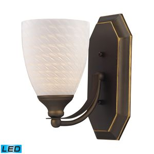 1 Light Vanity In Aged Bronze And White Swirl Glass by Elk Lighting