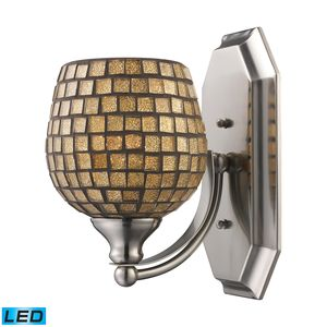 1 Light Vanity In Polished Chrome And Gold Mosaic Glass by Elk Lighting