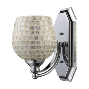 1 Light Vanity In Polished Chrome And Silver Mosaic Glass by Elk Lighting