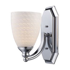 1 Light Vanity In Polished Chrome And White Swirl Glass by Elk Lighting