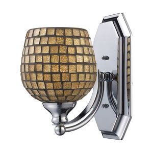 1 Light Vanity In Satin Nickel And Gold Mosaic Glass by Elk Lighting