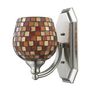 1 Light Vanity In Satin Nickel And Multi Mosaic Glass by Elk Lighting